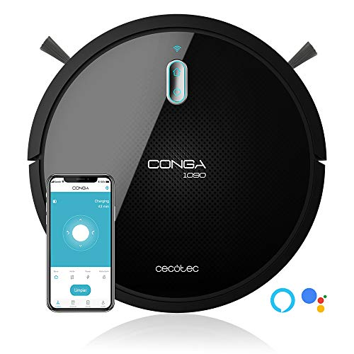 Cecotec Robot vacuum cleaner and floor scrubber Conga 1090 Connected Force, App Control, Vacuum, Sweep, scrub and mop, 1400 Pa, Special Brush for Pets, Smart Scrubbing, Alexa & Google Assist