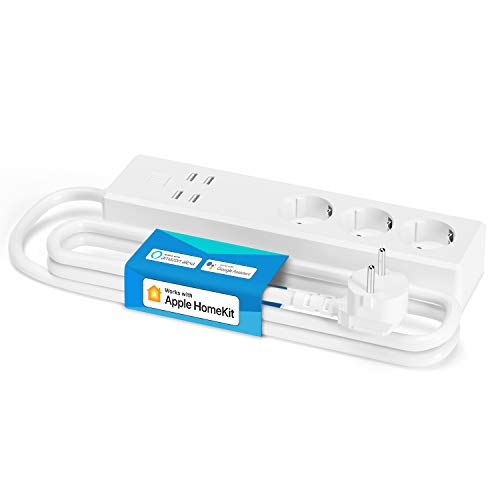 Smart Multiple Plug, Wi-Fi Strip, Compatible with HomeKit, Alexa, Google assistant and SmartThings, with 3 Sockets and 4 USB, meross