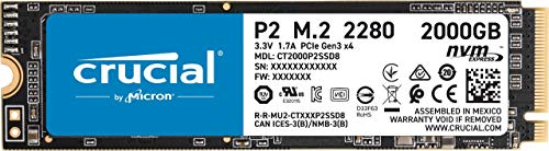 Crucial P2 CT2000P2SSD8 Internal Solid State Drive 2TB SSD, up to 2400MB / s (3D NAND, NVMe, PCIe, M.2)
