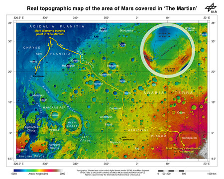 The Route Of The Martian From Chryse Planitia Over Arabia Terra In The Martian Highlands To Ares 4