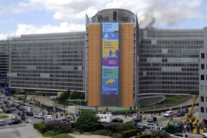 Facade of the 'Berlaymont' building of the European Commission in Brussels.