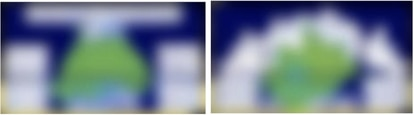 Blurred for security and industrial property reasons, the two images show the design of a chip made by engineers, on the left, and by the AI system, on the right.